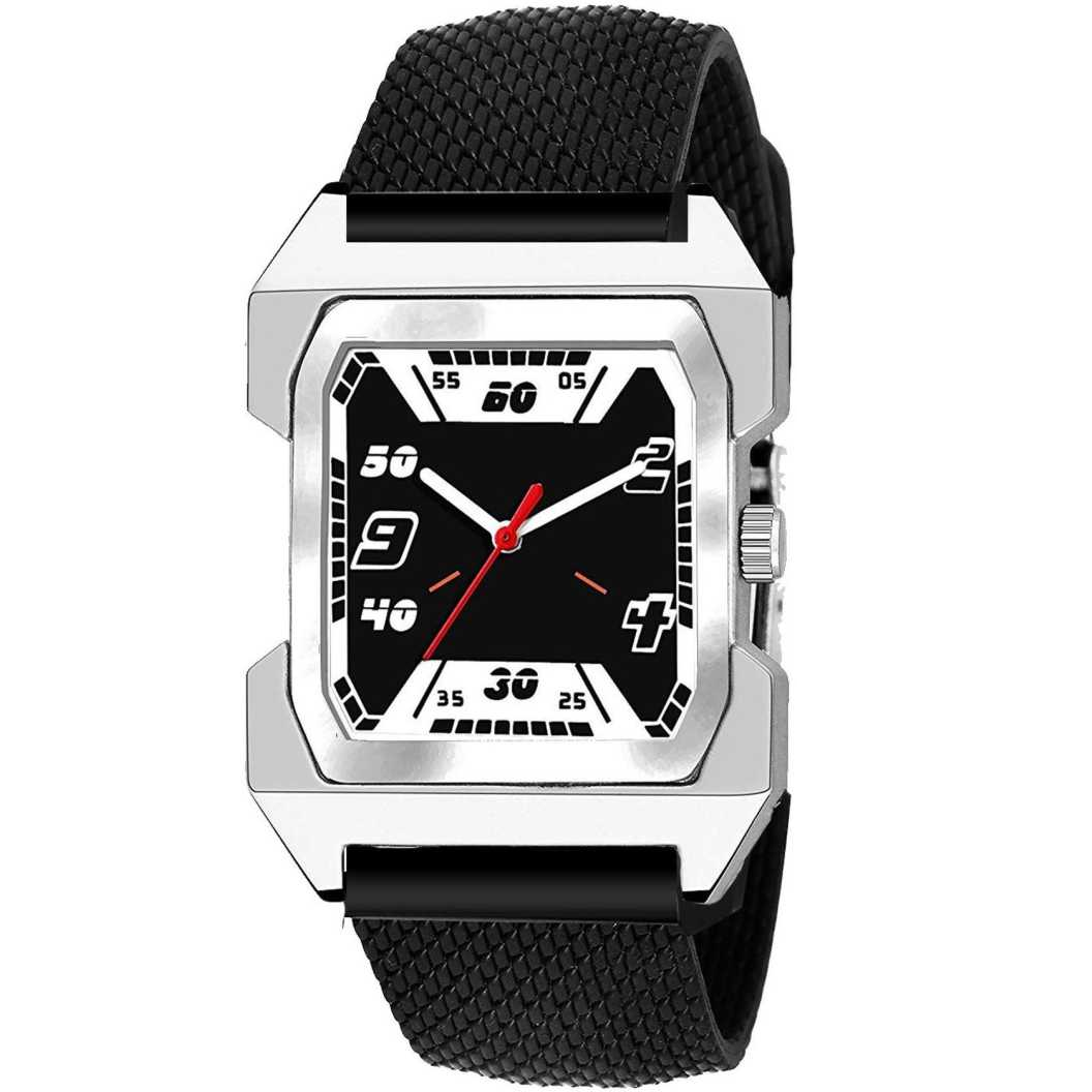 New Fancy Black Square Dial Rubber Strap Analog Watch - For Men