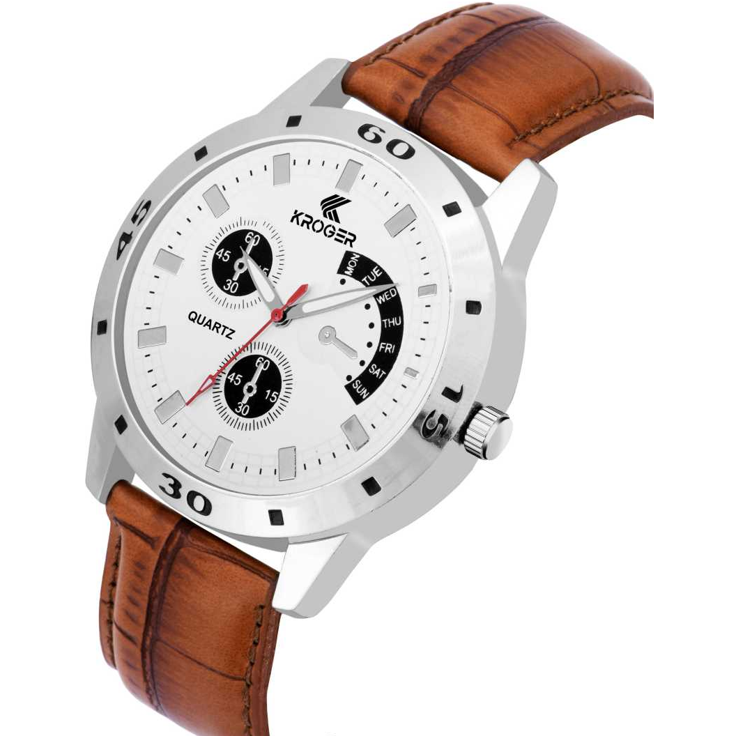 KRG1177 Latest Analogue White Dial Brown Leather Analog Watch - For Men