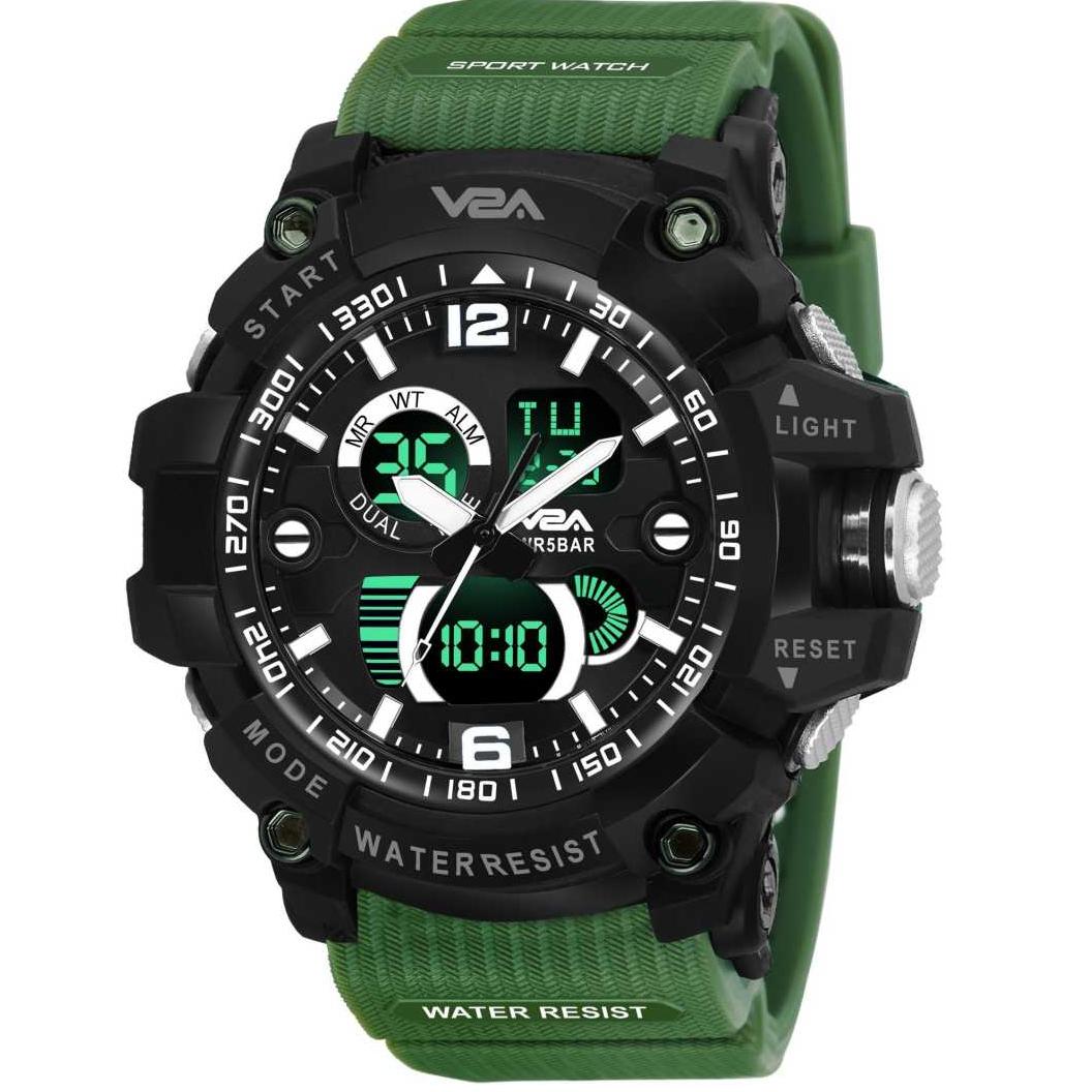 Analog And Digital Led 50M Waterproof Military Black-Blue Date Display Sports Analog-Digital Watch - For Men