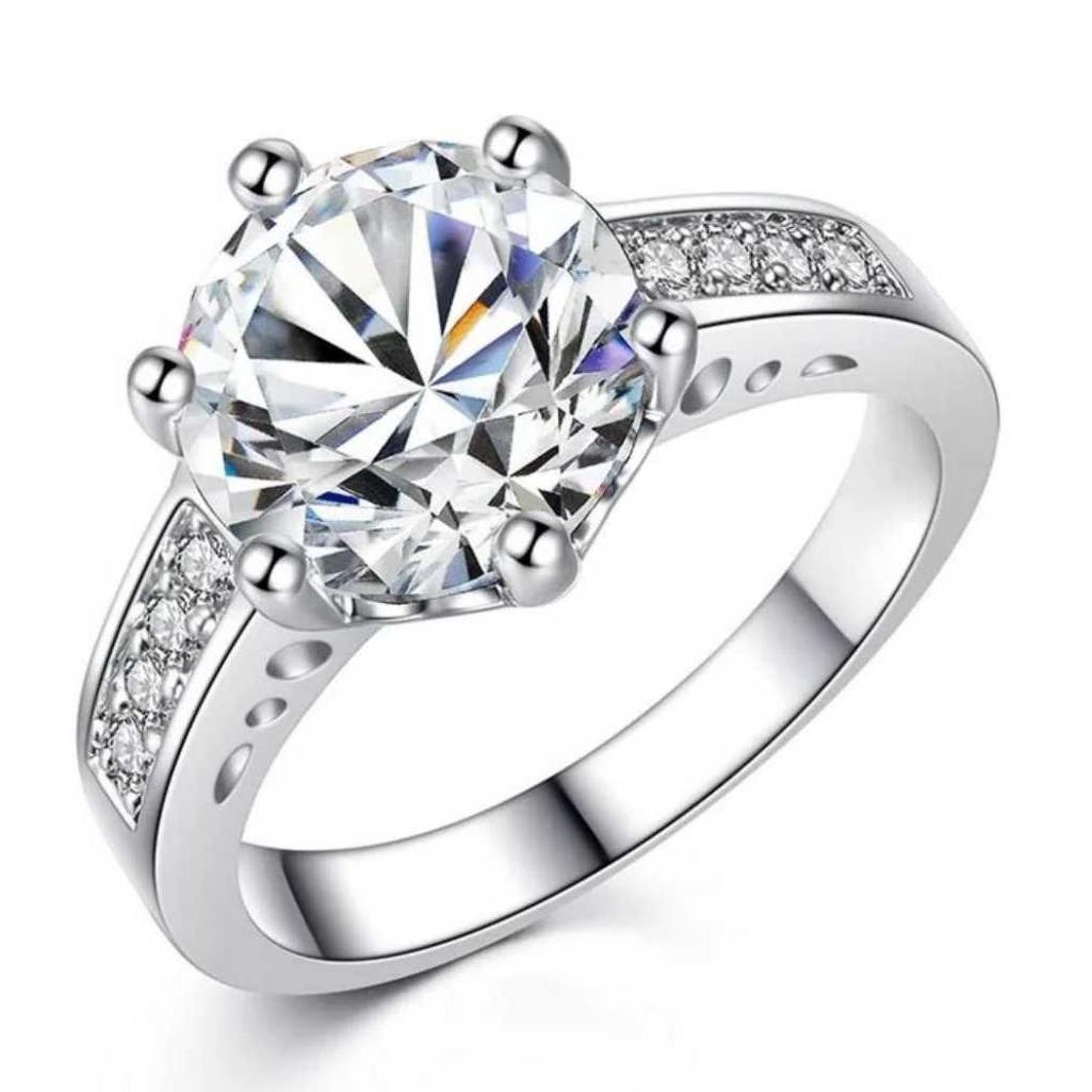 Enagagement Elegant Ring For Women & Girls (US Size-6) Stainless Steel Swarovski Zirconia Silver Plated Ring