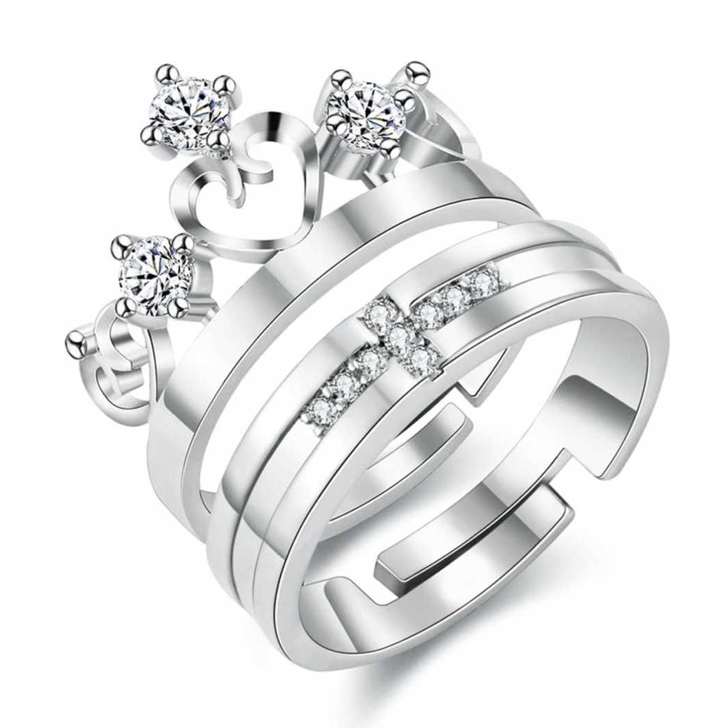 Love Couple Set Crown Style Steel Crystal Ring Set