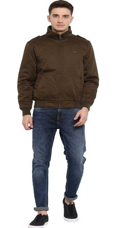 Full Sleeve Solid Men Jacket brown2