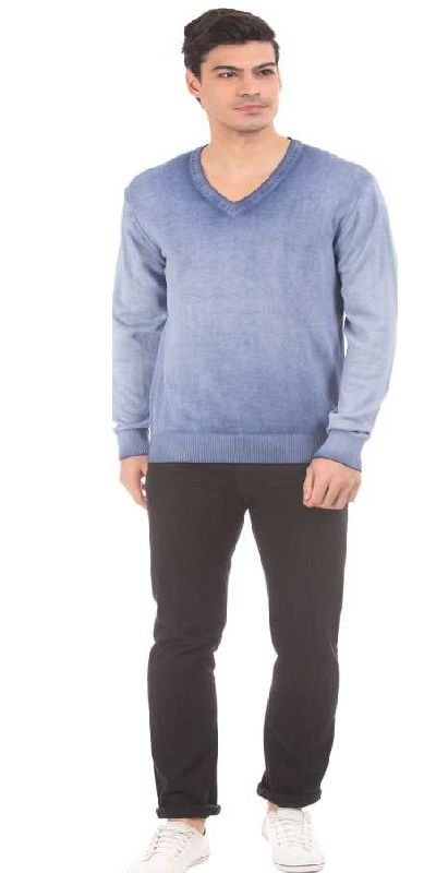 Solid V-neck Casual Men Blue Sweater