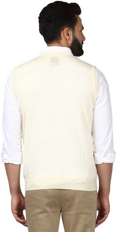 Solid V-neck Casual Men White Sweater